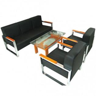 Bộ ghế sofa bọc da khung thép SF80
